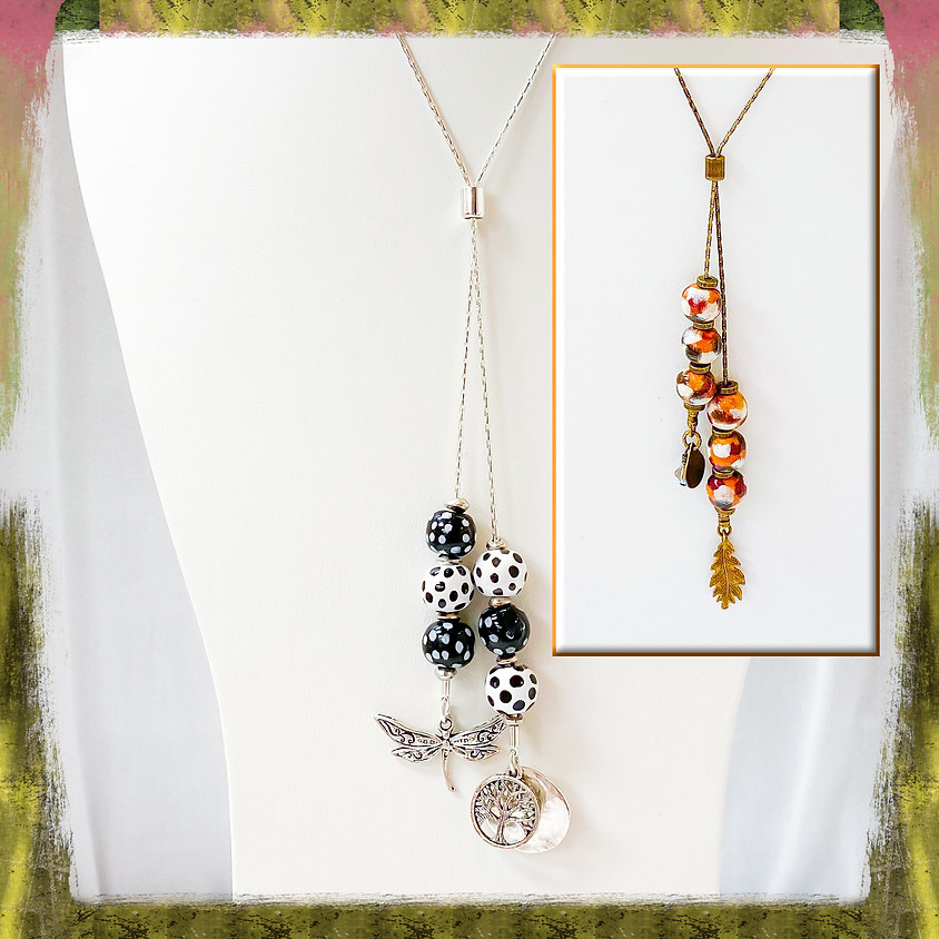 Dangling Kazuri Beads and Chain Necklace ( Zoom)