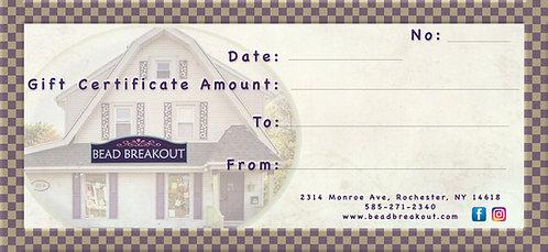 Bead Breakout Gift Certificate