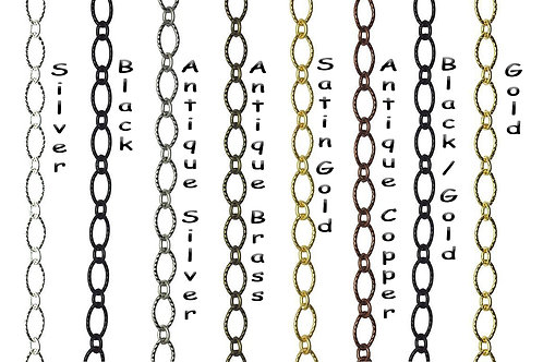 Textured Oval Cable Chain, 9mm x 6mm