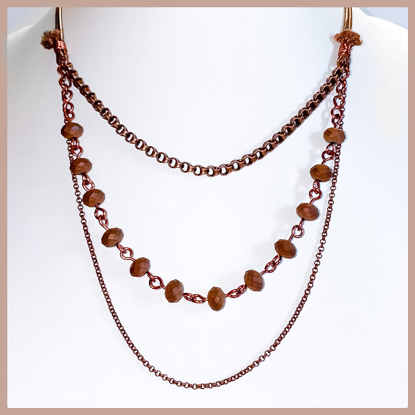 3-Strand Bead and Chain Necklace (Zoom)