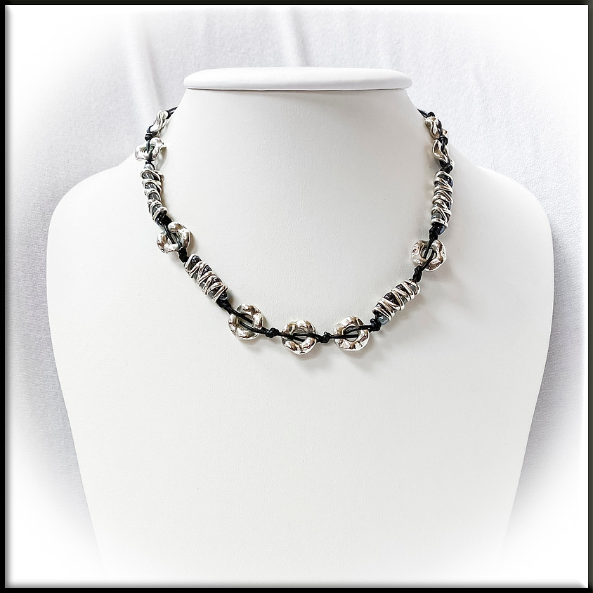 Dashing Pewter & Leather Necklace