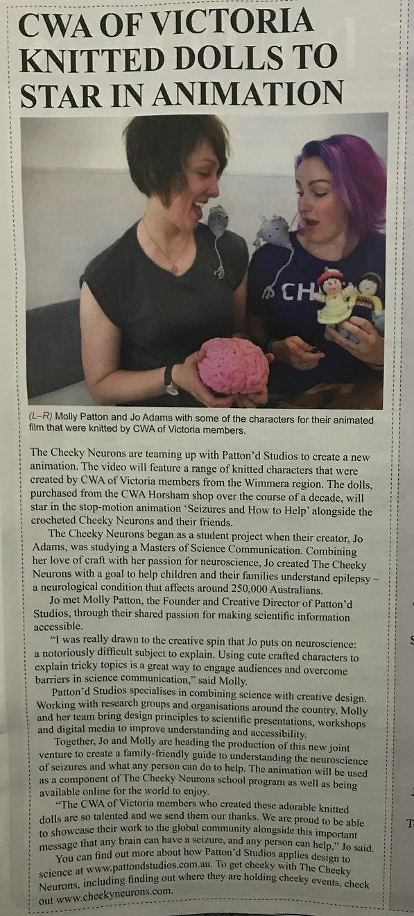 CN & Pattond Studio CWA article.JPG