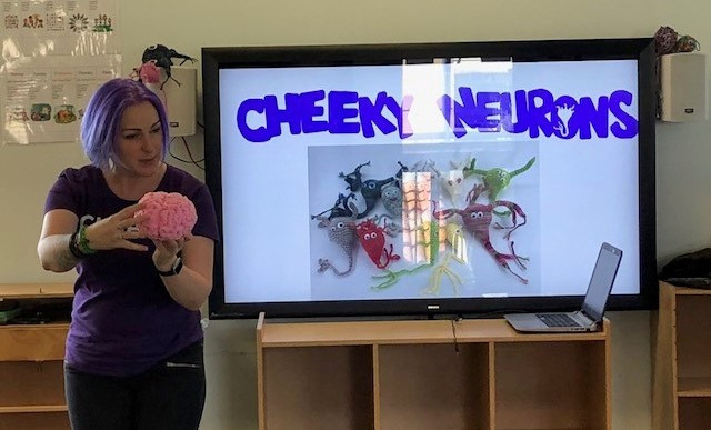 Jo talking brains at Darling Point Special School