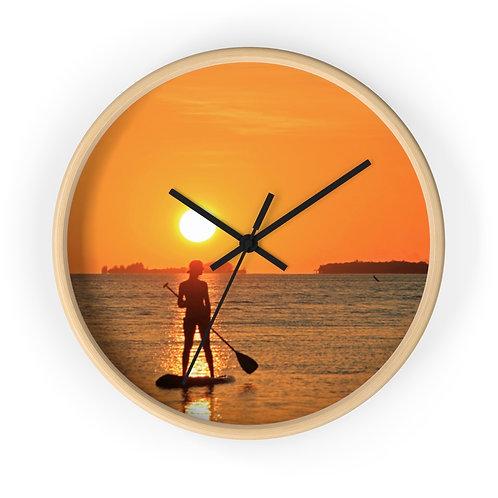 SUP into the Sunset - Utila Wall clock