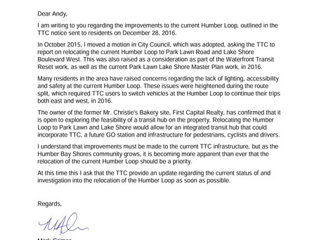 Letter to Andy Byford regarding TTC Humber Loop