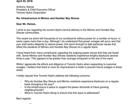 My letter to Toronto Hydro: Infrastructure in Mimico and Humber Bay Shores