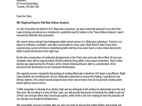 Metrolinx considering GO stop at Park Lawn