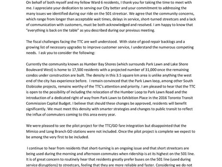 Letter to TTC CEO Andy Byford