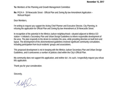 Letter to Planning & Growth Committee Regarding 39 Newcastle St. Application
