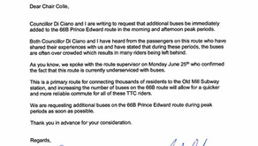 Letter to TTC Chair Josh Colle Re: 66B Prince Edward Bus Service Increase