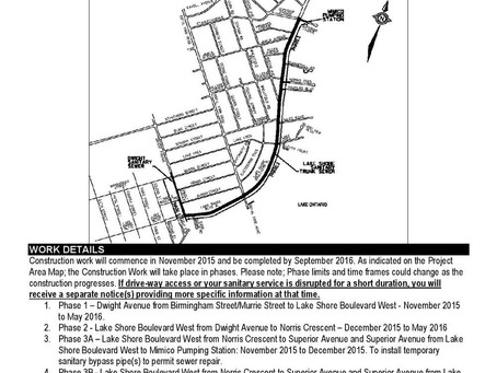 Construction Notice: Repairs to Lake Shore and Dwight, Sanitary Trunk Sewer