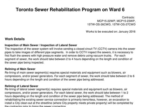 Toronto Sewer Rehabilitation Program in Mimico