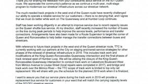 TTC Response to Councillor Grimes Regarding 501 Queen Service
