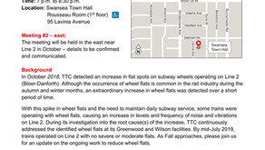 TTC Public Meetings - Wheel Flat Updates for Line 2 Bloor-Danforth