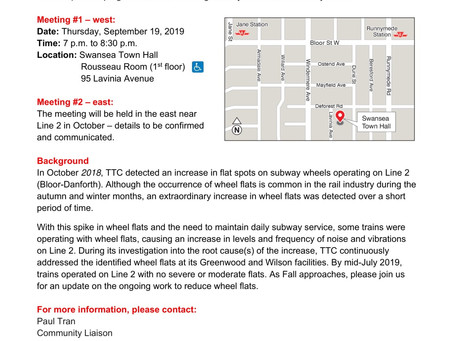 TTC Public Meetings - Wheel Flat Updates for Line 2 Bloor-Danforth