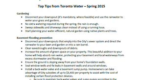 Tips from Toronto Water