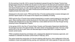 TRCA Memo: Etobicoke Valley Park Bank Stabilization Works