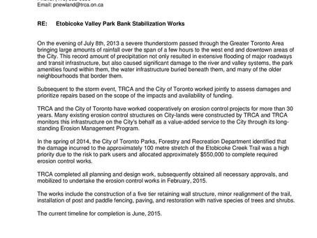 TRCA Memo: Etobicoke Valley Park Bank Stabilization Works