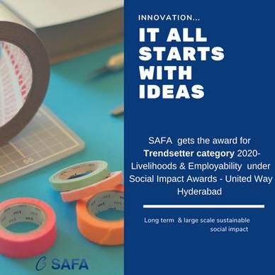 2020 Trendsetter : Livelihoods and Employability awarded by United Way Hyderabad