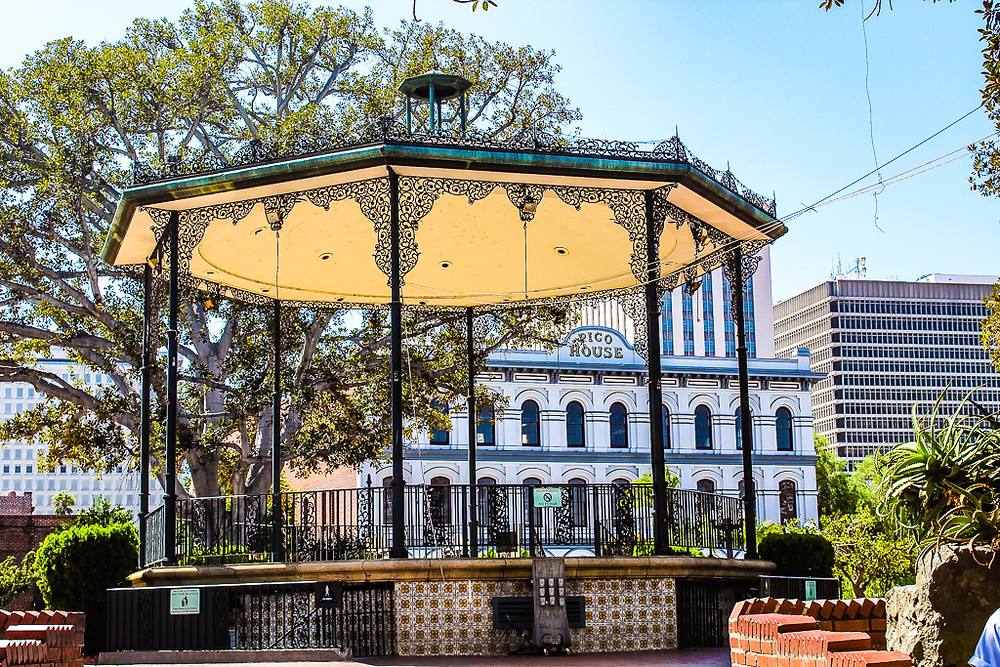Pico House, ornate gazebo, olvera street, old Los Angeles, Downtown LA, sightseeing in LA