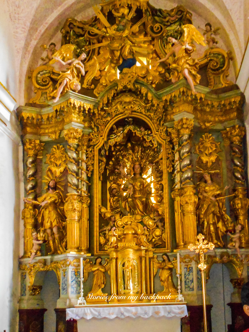 The Church of Assumption, church altar, gold Mother Mary, legend of church of assumption in bled, activities in bled