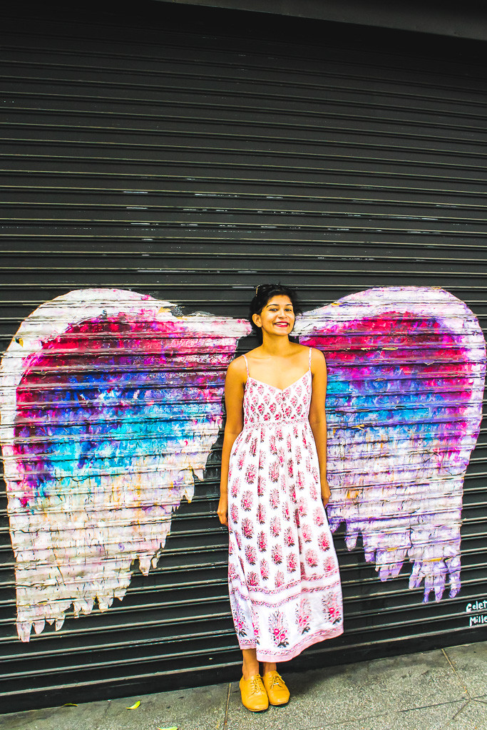 Angel wings graffiti in Los Angeles, Downtown LA wall art, murals in LA, colourful walls in Los Angeles