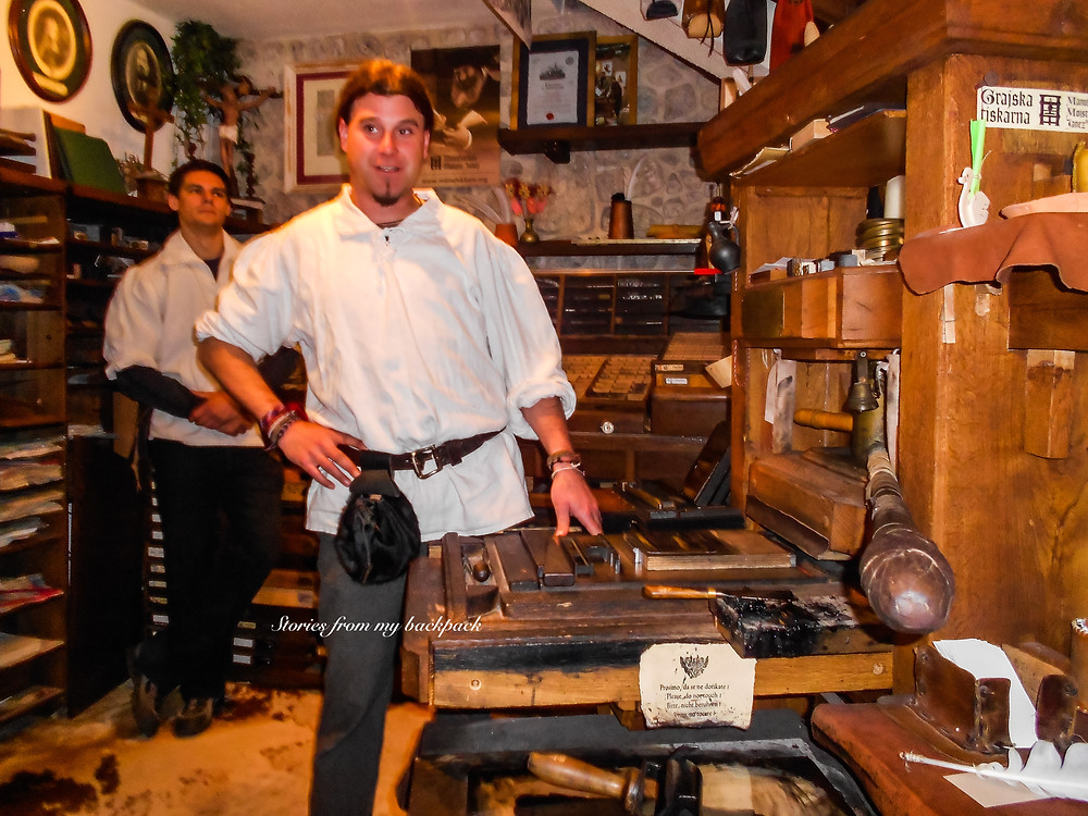 Gutenburg printing press, bled castle, bled castle things to do, bled island activities, Slovenia tourism, Slovenia best things to do