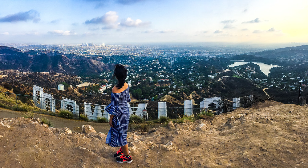 View behind Hollywood sign, Mount Lee, Mount Hollywood, Los Angeles