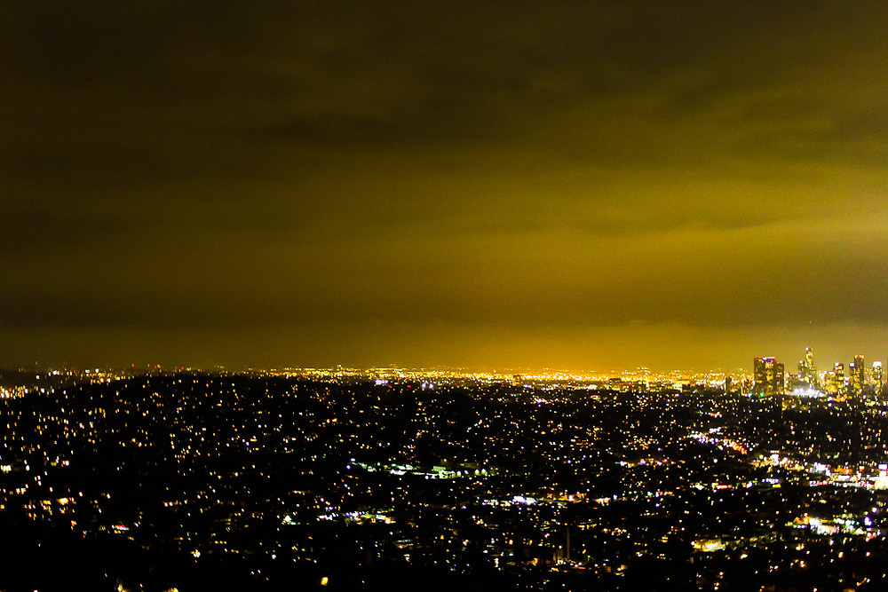 View of Los Angeles, Griffith Observatory at night, best view of LA