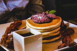 Pancakes with Blueberry Compote, & crispy Bacon on the side!