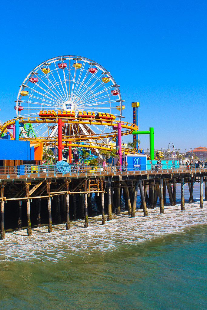 Ferris wheel, roller coaster, Santa Monica pier, Santa Monica beach, things to do at Santa Monica, shopping at Santa Monica pier, trapeze class at Santa Monica pier