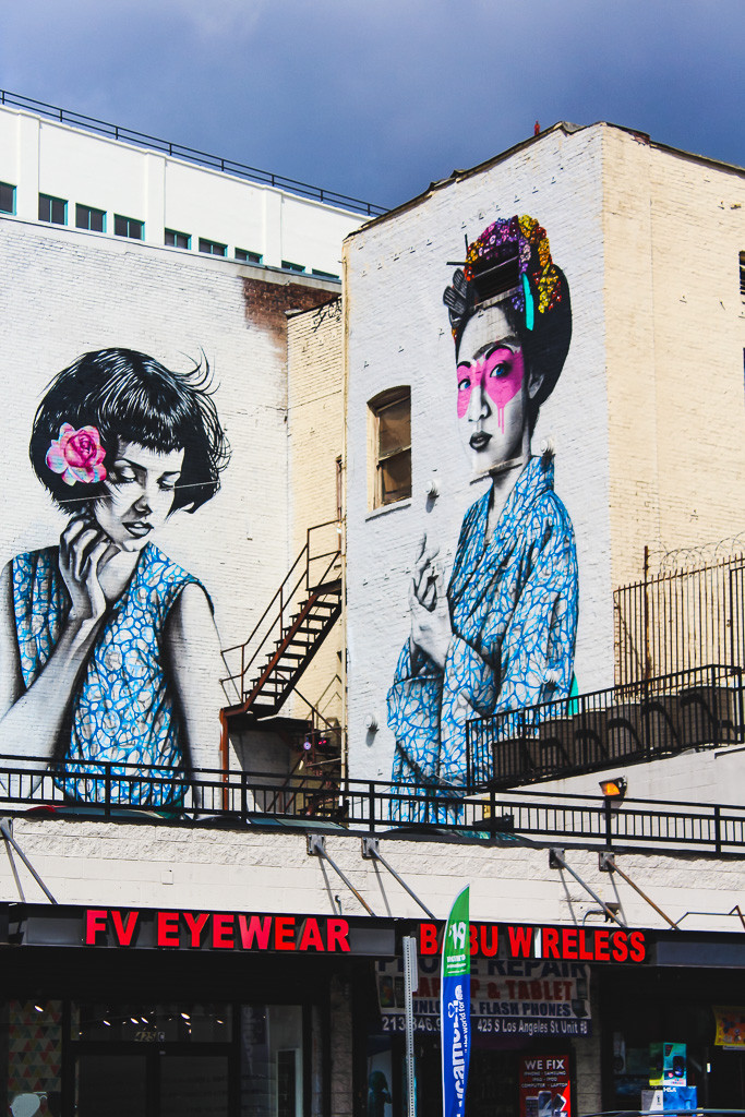Geisha on wall in Arts District, Graffiti Los Angeles, Wall art in Downtown LA, Painted Walls in Los Angeles