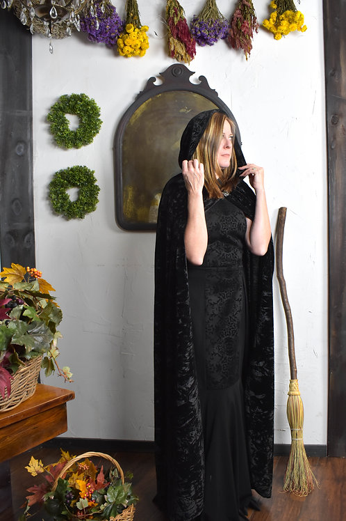 Black Crushed Velvet Cloak