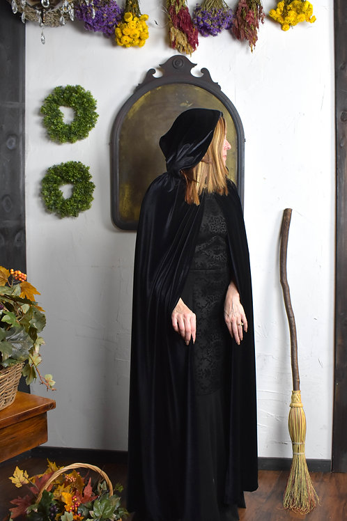 Traditional Black Velvet Cloak