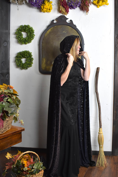 Black Embossed Vine Floral Cloak