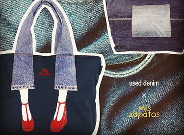 Mis Zapatos tote bags made from recycled denim from Osaka Japan