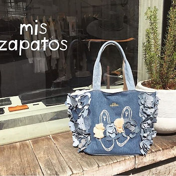 Ladies Tote Bag by Mis Zapatos. This is a unique design from Japan. It is a recycled denim tote bag.