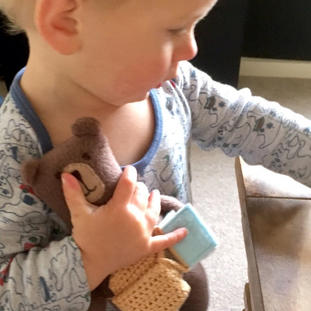 """""""Wow! What a gorgeous bear! Really well made and love the little book with personalised message inside. The seller was great with communication and the bear arrived quickly. Thank you so much! This will be treasured by my son and I for years to come!"""" (1-5-17 RS Etsy)"""