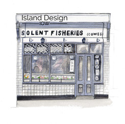 Cowes – Solent Fisheries – watercolour artwork