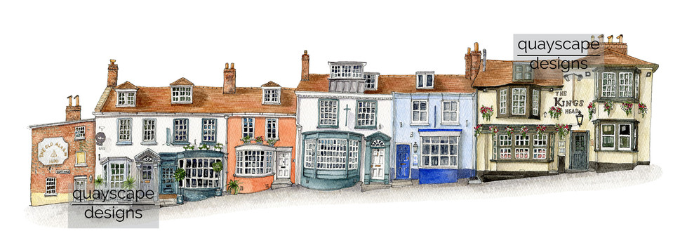 Quay Hill, Lymington (south side) - watercolour