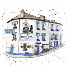 Dartmouth – The Ship In Dock Inn – quirky pen & watercolour artwork