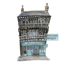 Dartmouth – Rockfish Restaurant – quirky pen & watercolour artwork