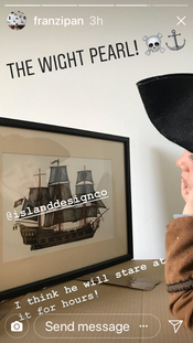 """""""Sooooo Excited!!! Months ago we discovered @islanddesignco an artist based on the Isle of Wight . . .   We chatted about the island, pirates and she welcomed some design requests from the pirate of course . . . And now we have our very own one of a kind ship . . . The Wight Pearl!  I think he will stare at it for hours! Thank you @islanddesignco for our Wight Pearl we love it beyond words . . . A special family heirloom for this pirate family who love the Isle of Wight!  Arrrrrrrrrrrr Love S xxxxxx"""" (7-4-18 F)"""