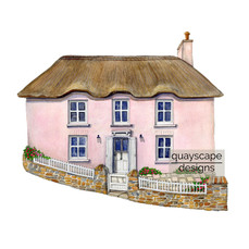 St Mawes – Pink Cottage – gouache artwork