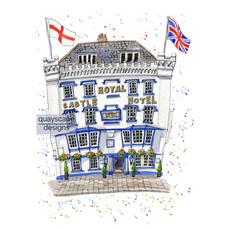 Dartmouth – The Royal Castle Hotel – quirky pen & watercolour artwork