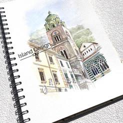 Watercolour sketch of the Piazza del Duomo in Amalfi