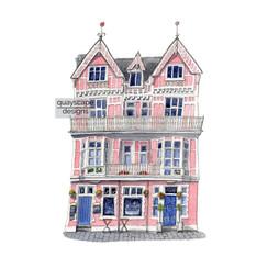 Dartmouth – The Crab – quirky pen & watercolour artwork