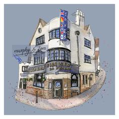 Cowes – The Pier View– blue – quirky pen & watercolour artwork