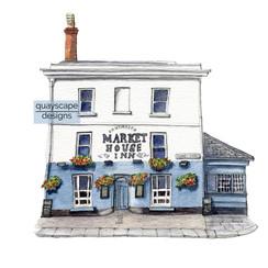 Dartmouth – The Market House Inn – quirky pen & watercolour artwork