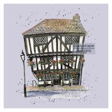 Dartmouth – The Cherub Inn – mauve – quirky pen & watercolour artwork